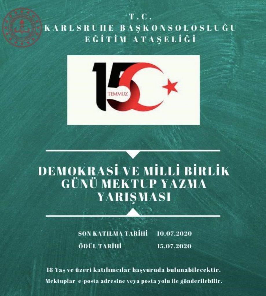 15 Temmuz Demokrasi ve Milli Birlik Günü:Pforzheim, Mühlacker, Bretten, Bruchsal, Karlsruhe, Rastatt, Gaggenau bölgelerinde Türkçe haber yapan tek haber sitesi